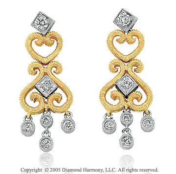 0.35  Carat Two Tone Diamond Vintage Style Chandelier Earrings